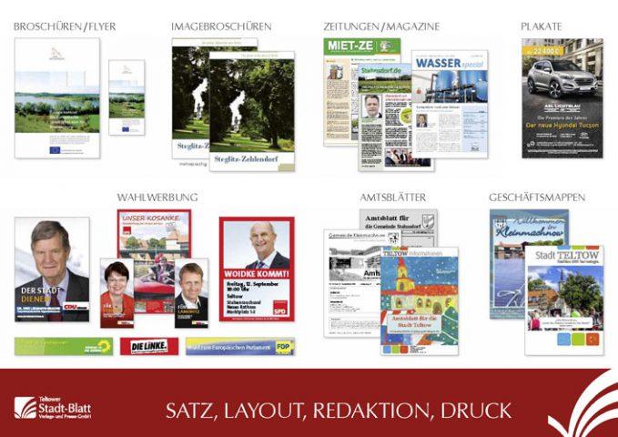 Dienstleistungen des Teltower Stadtblatt Verlages
