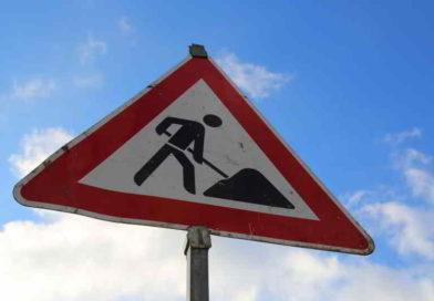 Sperrung in der Oderstraße für Markierung eines Radstreifens