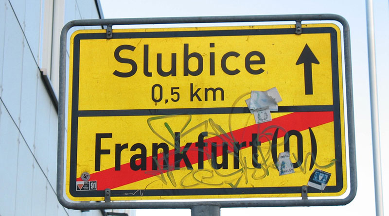 Ortsschild Slubice Frankfurt