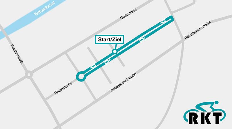 Während des 4. Teltower Radkriteriums am 24. Juni kommt es von 8:00 bis 17:00 Uhr zu Sperrungen im Bereich der Rheinstraße