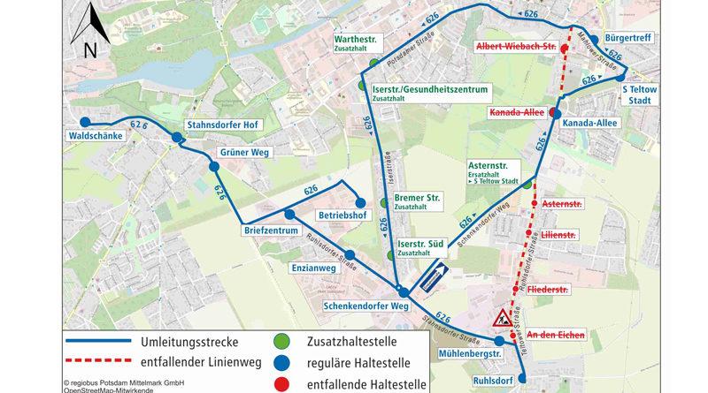 Die Baumfällarbeiten im Teltower Ortsteil Ruhlsdorf werden wieder aufgenommen. Darum wird die Straße L 794 (Teltower Straße) im Abschnitt von der Stahnsdorfer Straße bis Teltomat vom 12. bis zum 29. Februar jeweils montags bis samstags von 08:30 bis 15:00 Uhr voll gesperrt.